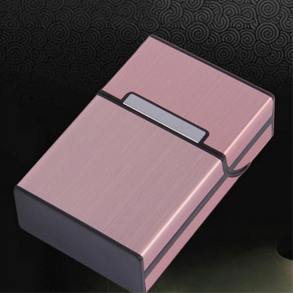 Men Fashion Business Brushed Cigarette Case Metal Pocket Cigarette Case Rose gold