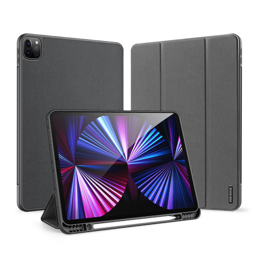 Solid Color Protective Case Tablet Case Cover With Pen Tray For Ipad Pro 12.9 2021 Black