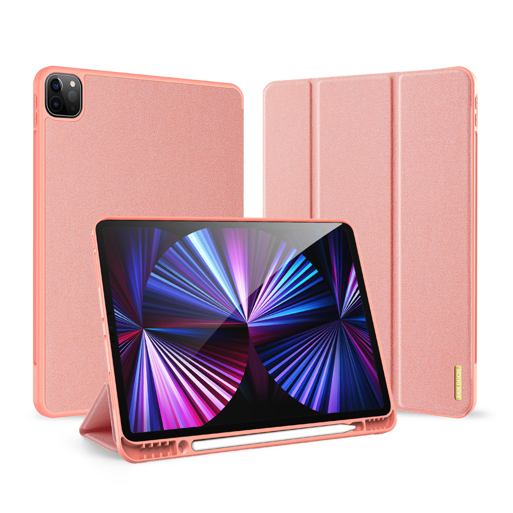 Solid Color Protective Case Tablet Case Cover With Pen Tray For Ipad Pro 12.9 2021 Elegant pink