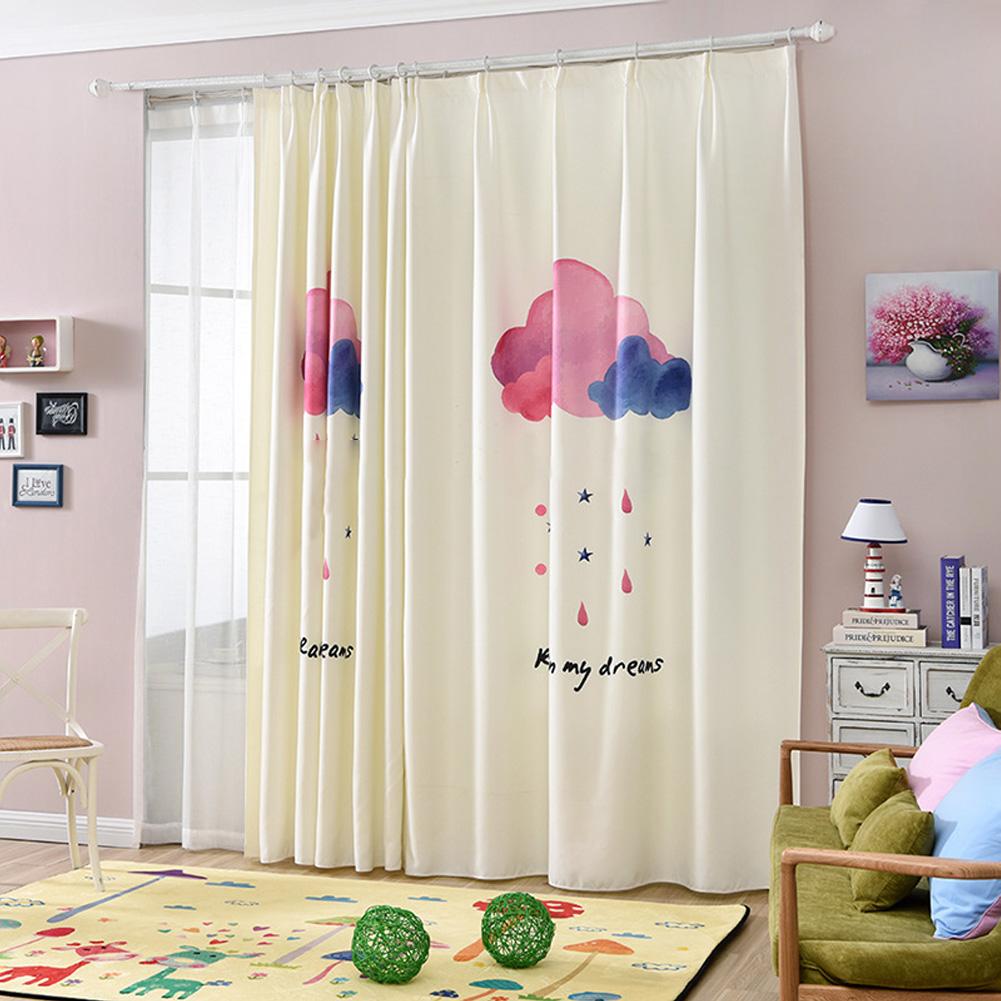 Cartoon Cloud Printing Window Curtain Cotton Linen Drapes for Kids Room Bedroom Living Room Clouds_2 meters wide * 2.6 meters high