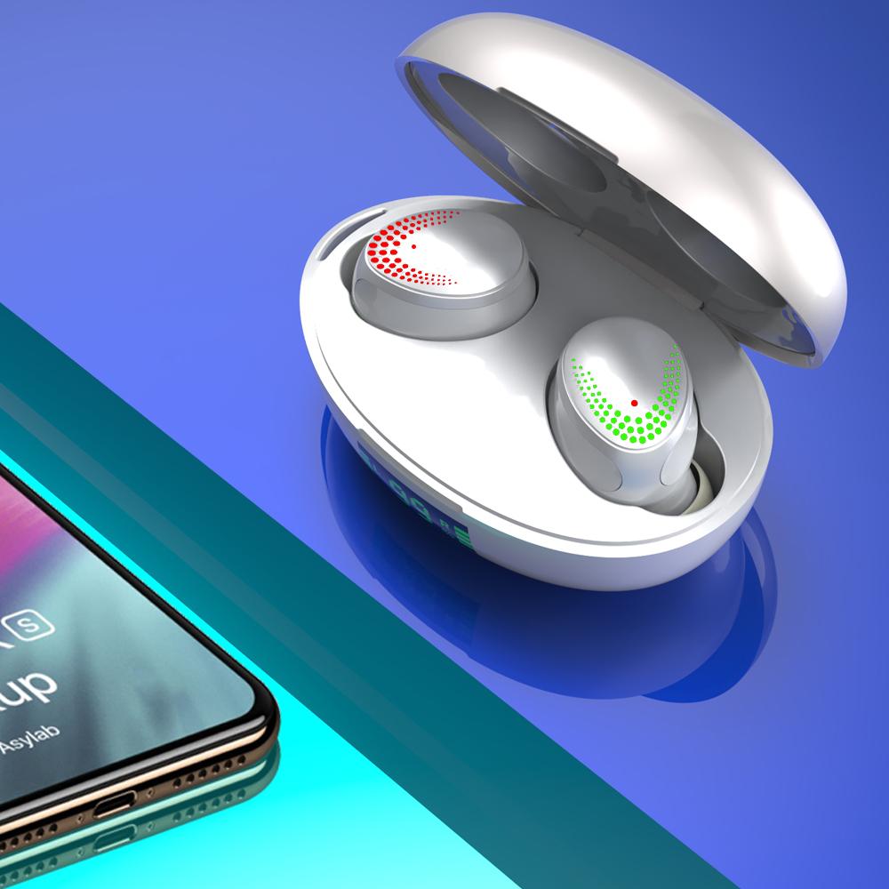 Wireless Binaural In-ear Bluetooth 5.0 Earphones With Power Display Multifunction Earphones White
