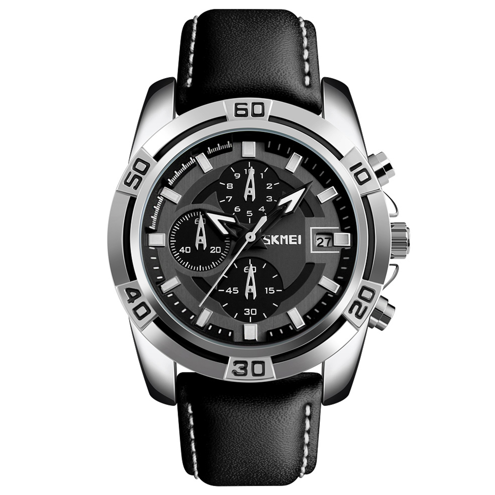 Men Fashion Luxury Quartz Wristwatch Silver