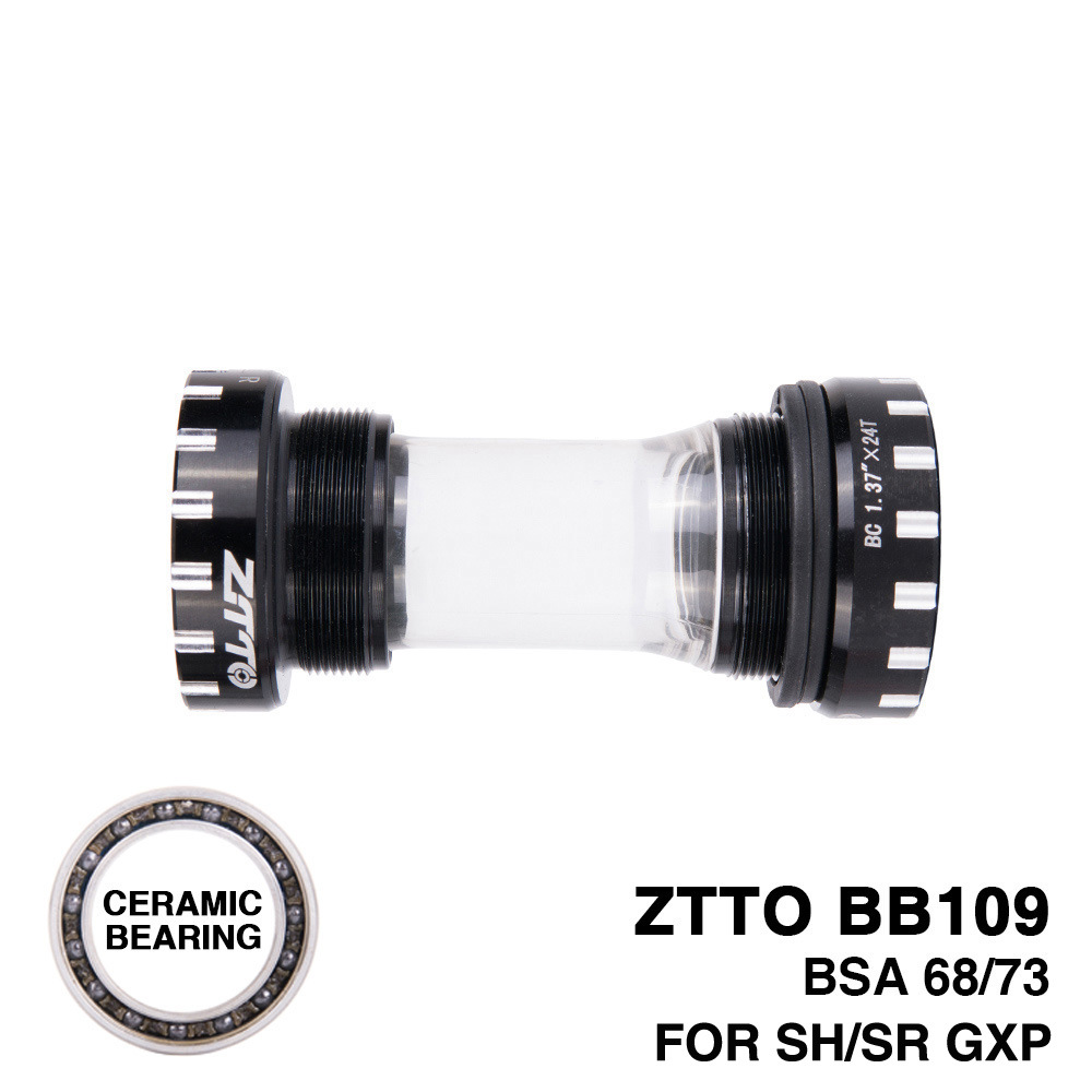ZTTO Bearing BB109 MTB Road Bike External Bearing Bottom Brackets for Parts 24mm BB 22mm GXP Crankset black