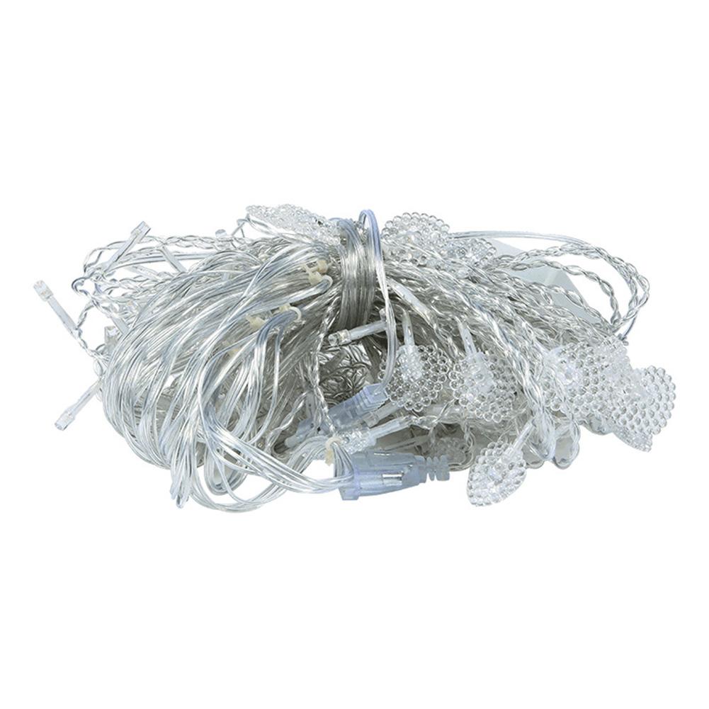 EU Plug 112LED Curtain String Light Heart Shape LED Christmas Fairy Light Wedding Holiday Garland Warm White