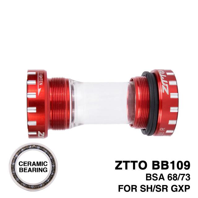ZTTO Bearing BB109 MTB Road Bike External Bearing Bottom Brackets for Parts 24mm BB 22mm GXP Crankset red