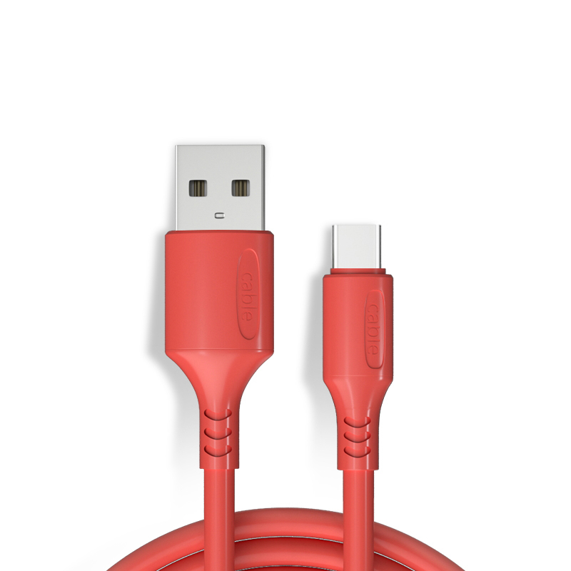 Candy Color Liquid Charge Cable 1.2M for Type-C Phone Fast Charging Magnet Charger Cable Mobile Phon red