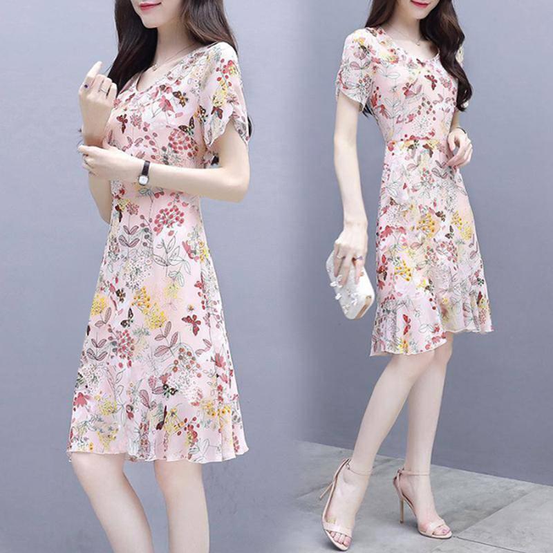 Summer Women Fashion Elegant Slim Flower Printing Short Sleeve Dress Photo Color_L