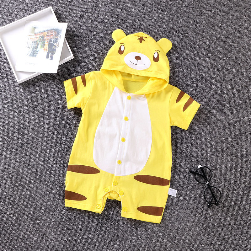 Summer Cute Cartoon Style Romper Cotton Open-Crotch Button Overall for Baby Tiger_S-66cm