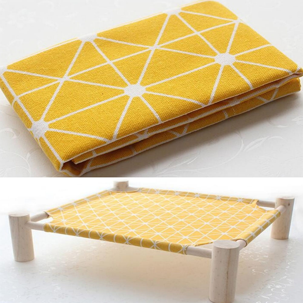 Small Dog Cat Bed Mats Breathable Comfortable Print Washable Pet Sleeping Cat Hammock Bed Kitten Puppy Nest Yellow plaid (single cloth - no shelf)