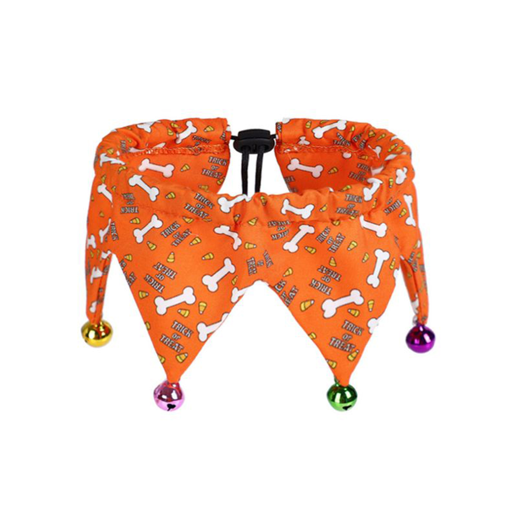 Halloween Funny Adjustable Pet Collar with Bells for Dog Cat Jewelry Orange_Neck circumference 20-39cm