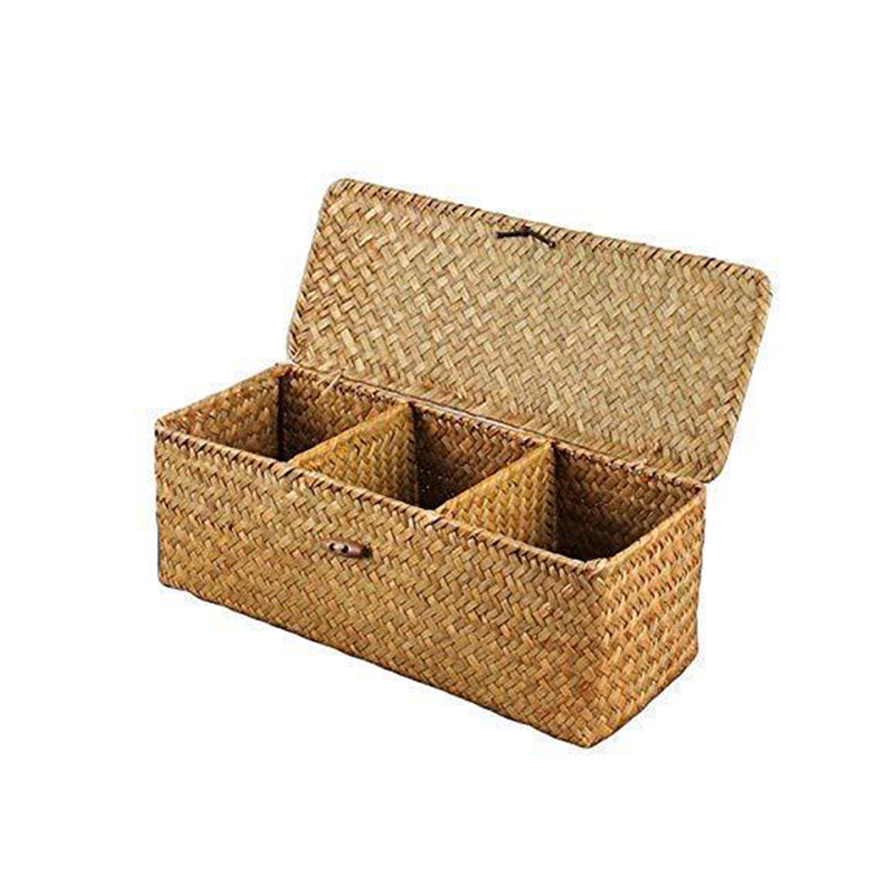 Hand Woven Storage Basket Makeup Organizer Multipurpose Tabletop Container with Lid natural color
