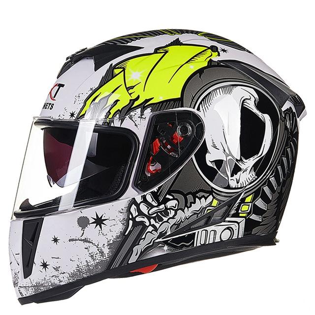 Flip-up Dual Lenses Antifogging Full-Face Coverage Motorcycle Motorbike Riding Helmet for Men White and green_M