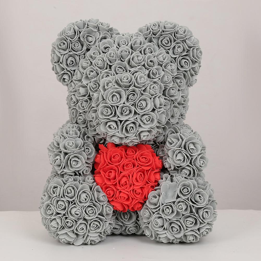 40cm Artificial Roses Cartoon Bear Toy Home Wedding Decoration Crafts gray