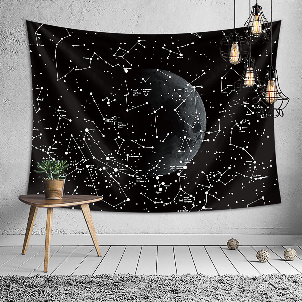 Black Starry Moon Series Printing Hanging Tapestry Wall Decoration 1#_130*150