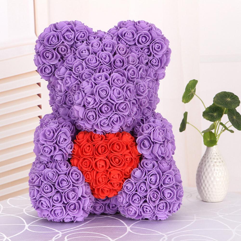 40cm Artificial Roses Cartoon Bear Toy Home Wedding Decoration Crafts purple