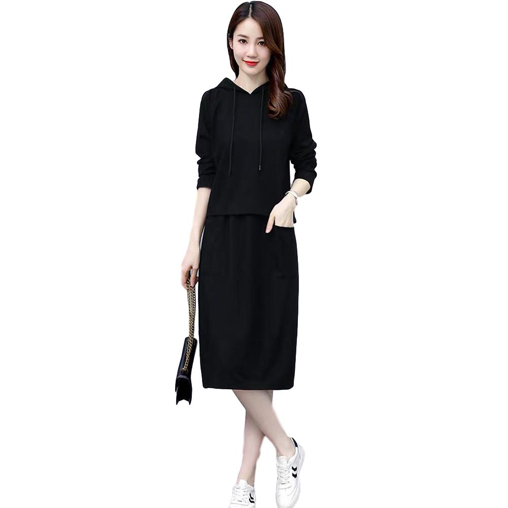 Women's Suit Autumn Winter Plus Size Casual Long-sleeve Top + Dress black_M