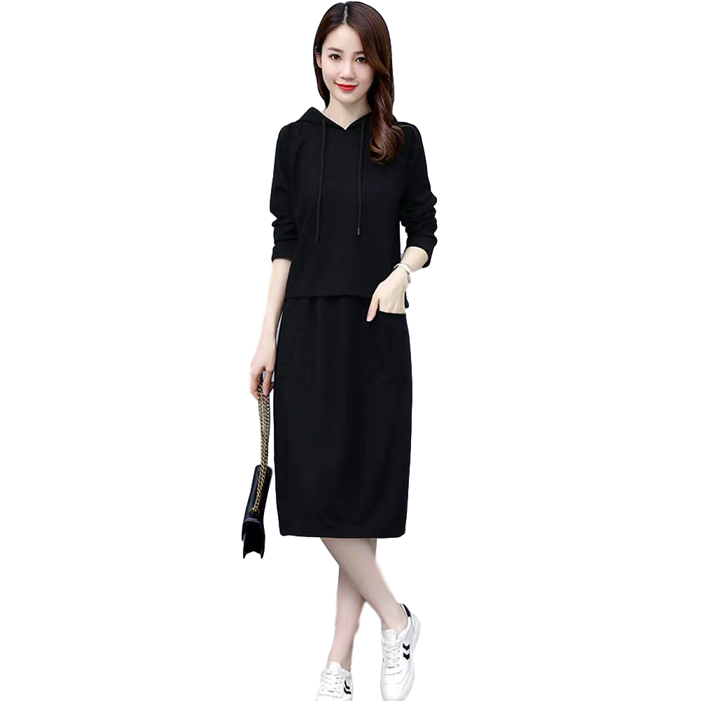 Women's Suit Autumn Winter Plus Size Casual Long-sleeve Top + Dress black_XL