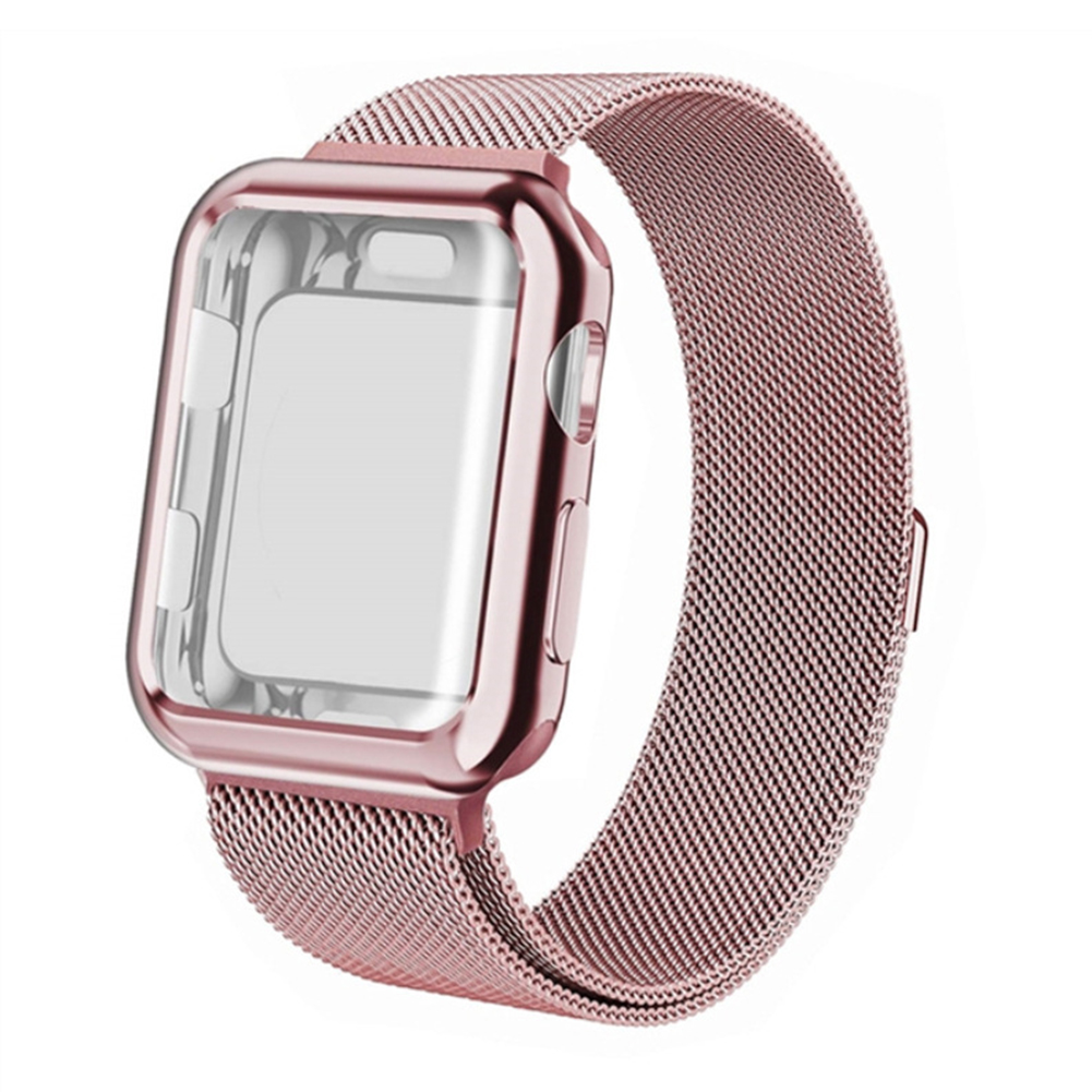 For Apple watch4/3/2/1 Milanese Full Cover Electroplating Shell Iwatch Band Watchband Set Rose red 4 generation 40mm