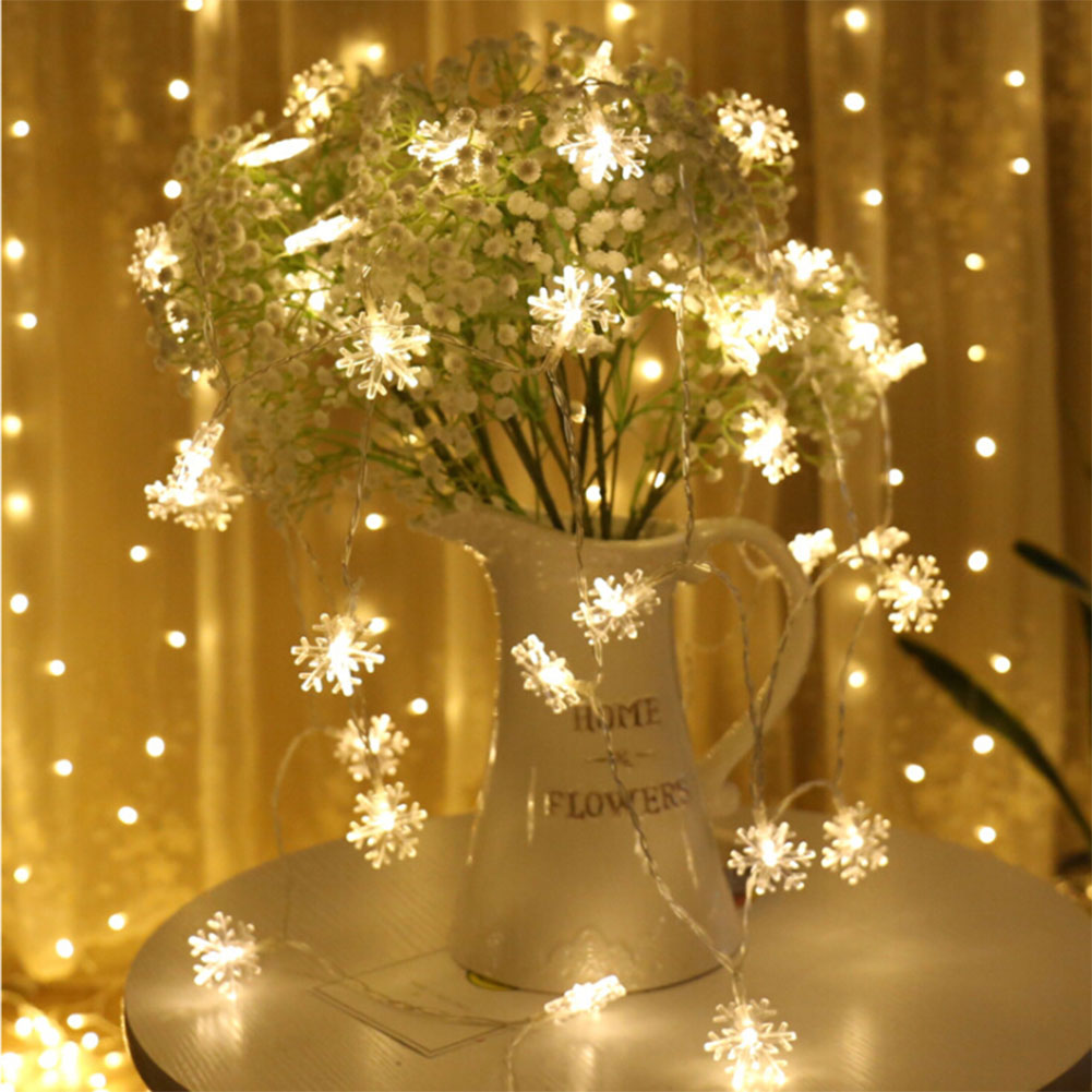 40 LED 6 Meters Christmas Party Wedding Outdoor Decor Snowflake Light String Warm White