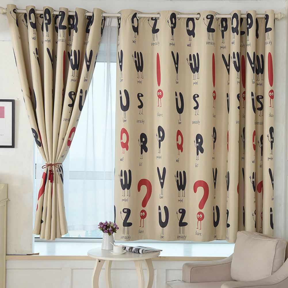 Letter Printing Window Curtain Shading Drapes for Living Room Bedroom Decor 1 meter wide x 2 meters high