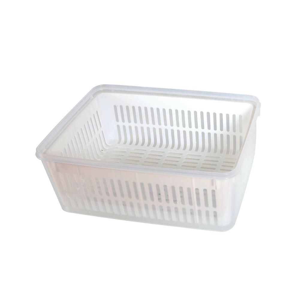 Transparent Large Capacity Storage Box Refrigerator Fresh Keeping Food Fruit Vegetable Sealed Box with Cover white