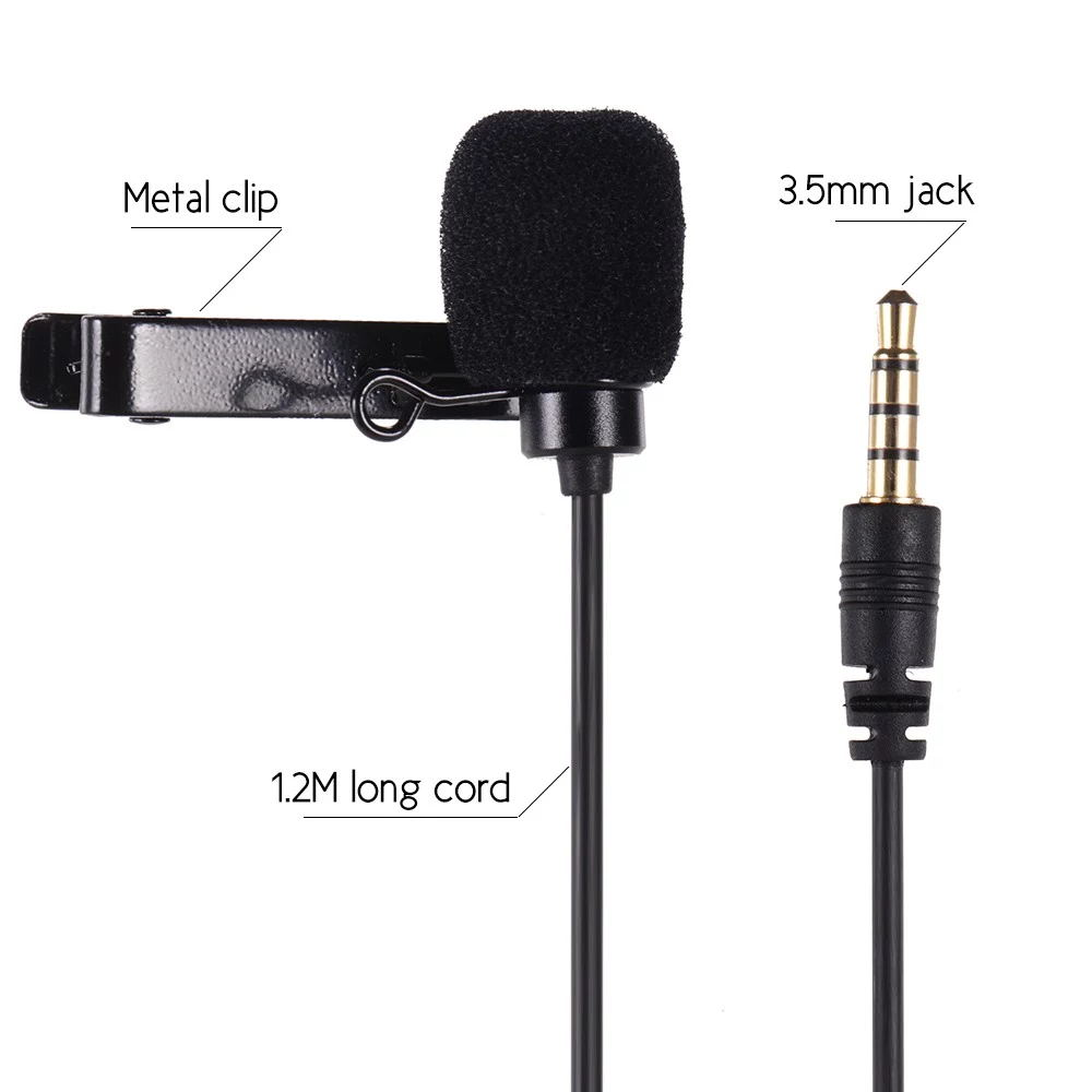 VELEDGE VD-S1 Lavalier Microphone Lapel Mic Clip-on Omnidirectional Condenser for iPhone Ipad Samsung Android Windows Smartphones  black