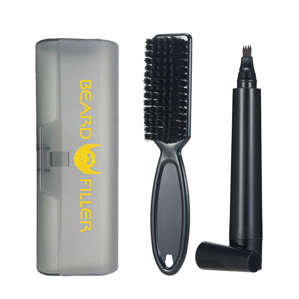Beard  Filling  Pen  Kit Facial Hair Styling Eyebrow Tool Travel Plastic Box Beard Pen Combo Black_Normal specifications
