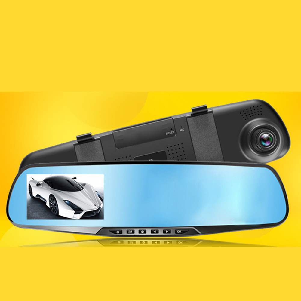 5/12V140°3.5 inch Cigarette Lighter High Definition Rear View Mirror Driving Recorder 3.5 inch left screen