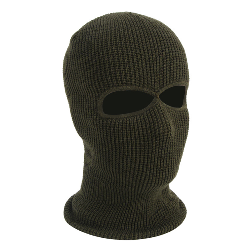 Unisex Windproof Thicken Warm Mask Hat for Winter Outdoor Riding Skiing ArmyGreen_One size