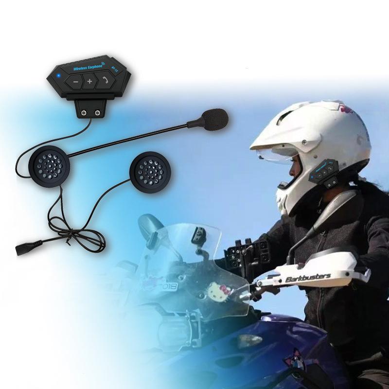 BT-12 Wireless Earphone Motorcycle Helmet Headset Speaker Hands-free Call Bluetooth 4.1 Headphones for Motor Bicycle black
