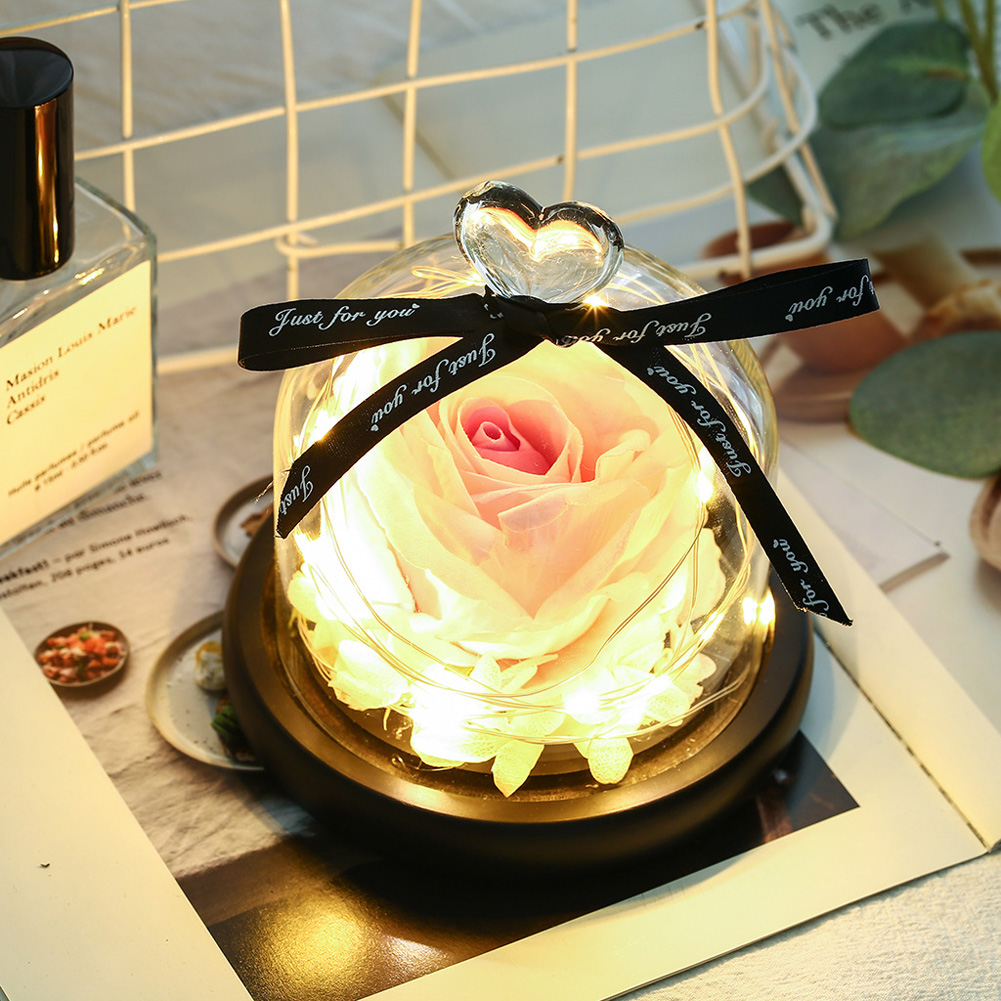 Valentines Exclusive In Glass Dome with Lights Eternal Real Rose Christmas Day Gift Pink