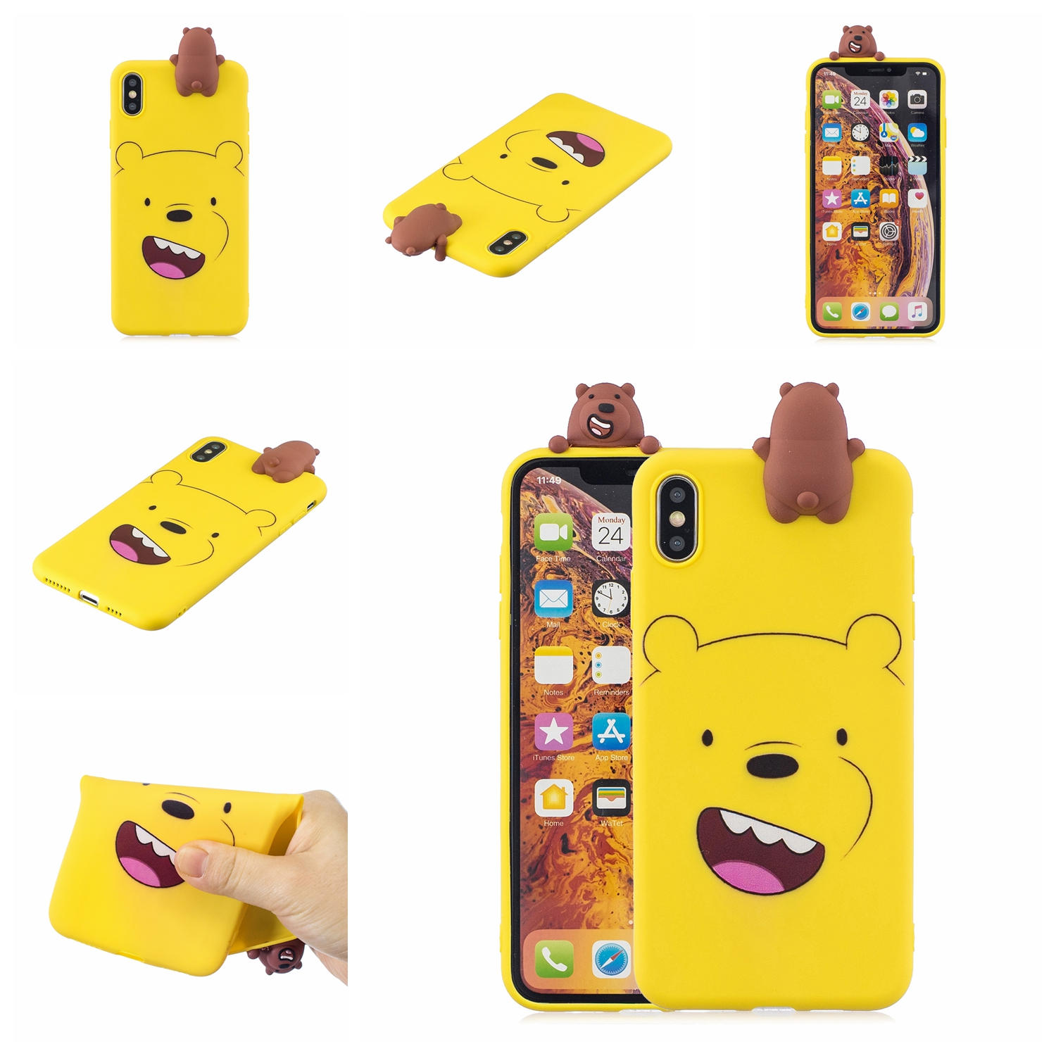 For OPPO Realme 2/A5 Indian Version 3D Cute Coloured Painted Animal TPU Anti-scratch Non-slip Protective Cover Back Case yellow
