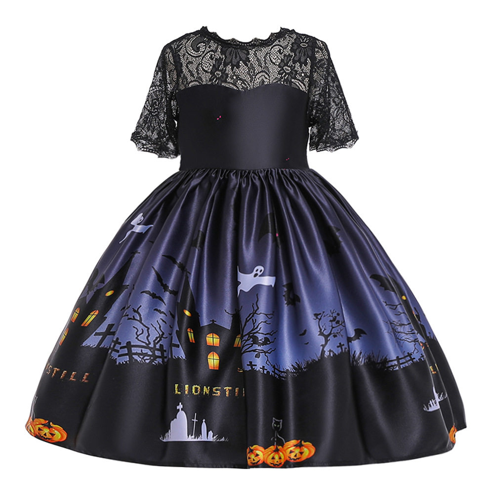 Girl Kids Costume Cartoon Pattern Printing Full Dress for Festival Stage Costume WS002-black_150cm