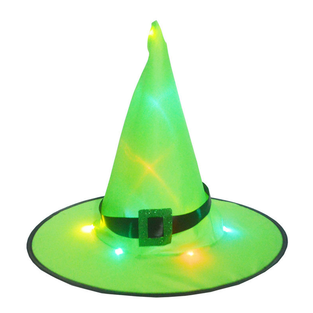 Halloween Glowing Witch Hat Lighting Head-wear for Outdoor Cosplay Props Green