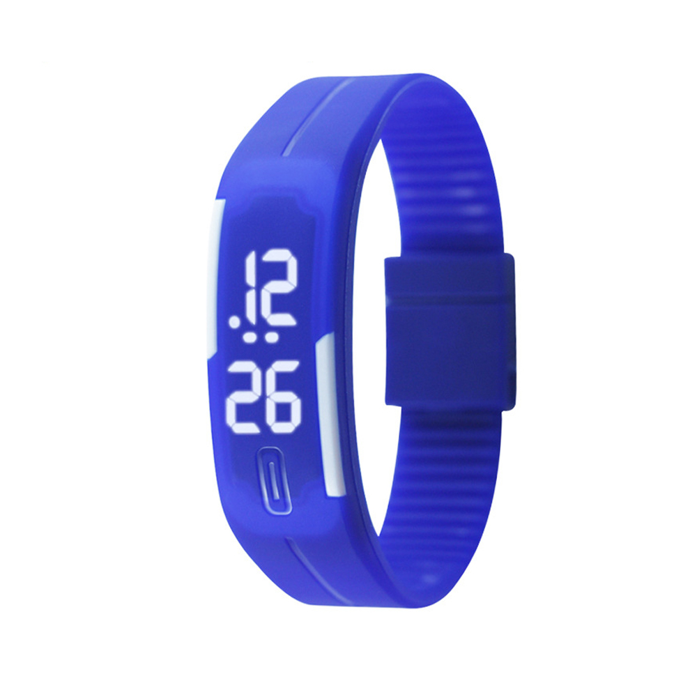 Candy Color male Famale Wristwatch Silicone LED kids Watches Date Bracelet Digital Sports Clock blue