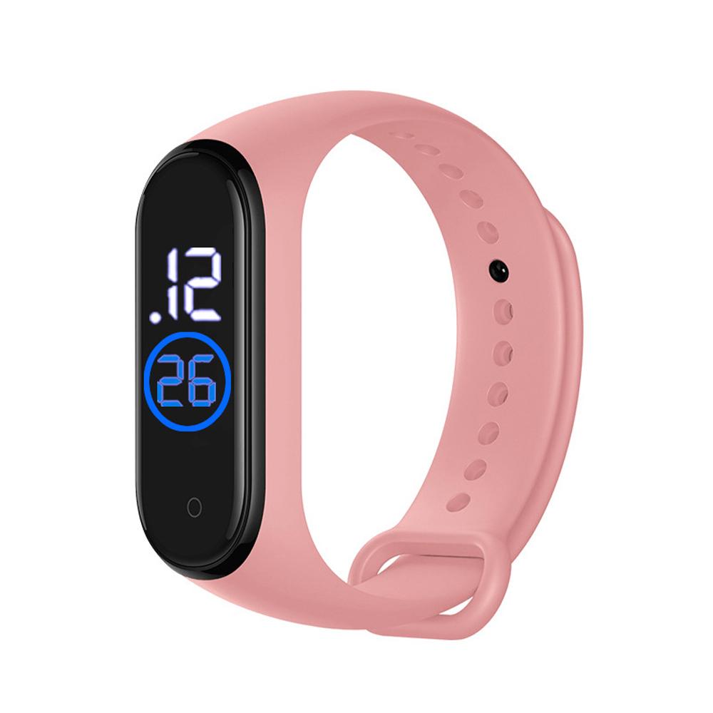 LED Electronic Sports Luminous Sensor Watches Men and Women Waterproof Digital Wristwatch Clock Pink