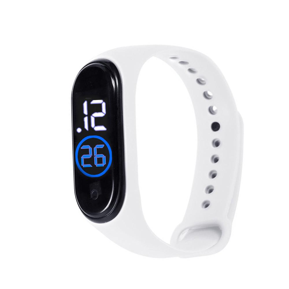 LED Electronic Sports Luminous Sensor Watches Men and Women Waterproof Digital Wristwatch Clock white