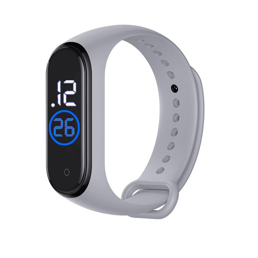 LED Electronic Sports Luminous Sensor Watches Men and Women Waterproof Digital Wristwatch Clock gray