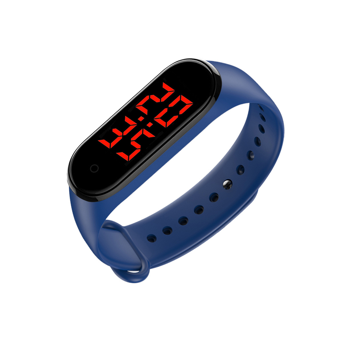Smart Band LED Display Body Temperature Measurement Touch Screen Smart Bracelet blue_Boxed