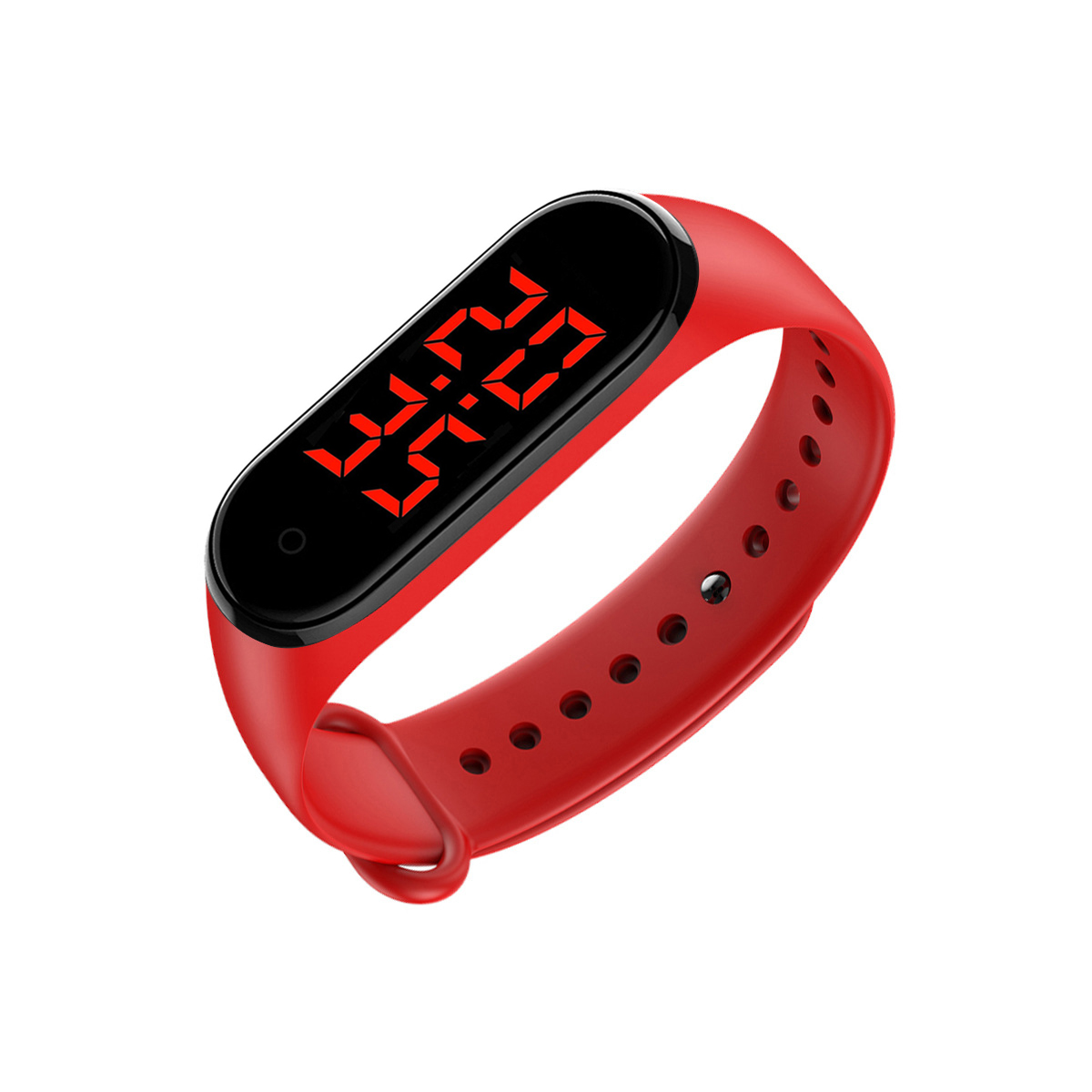 Smart Band LED Display Body Temperature Measurement Touch Screen Smart Bracelet red_Boxed