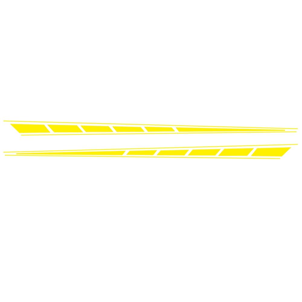 2Pcs Auto Car Side Body Long Stripe Sport Vinyl Decals Decoration Racing Sticker yellow
