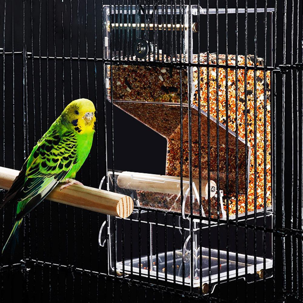 Parrot Bird Automatic Seed Feeder Tray Transparent Board Supplies Anti-Splashing  Medium