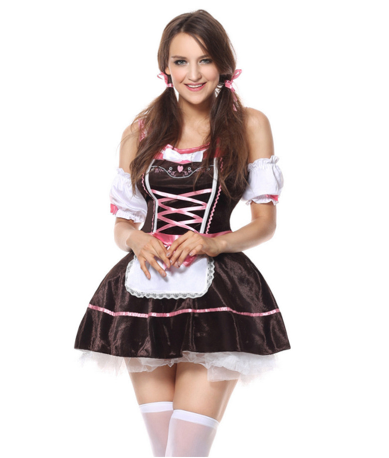 Women Girl Oktoberfest Dress Halloween Beer Festival Fashion Maid Uniform brown_M