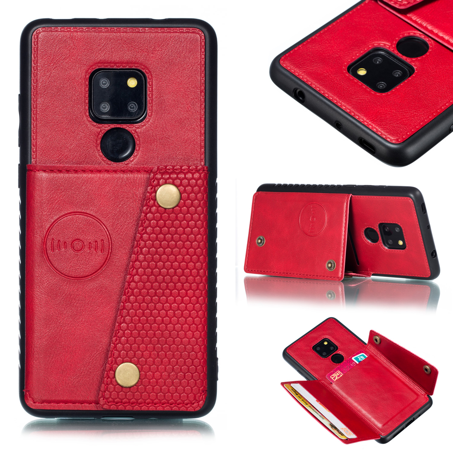 For HUAWEI MATE 20 Double Buckle Non-slip Shockproof Cell Phone Case with Card Slot Bracket red