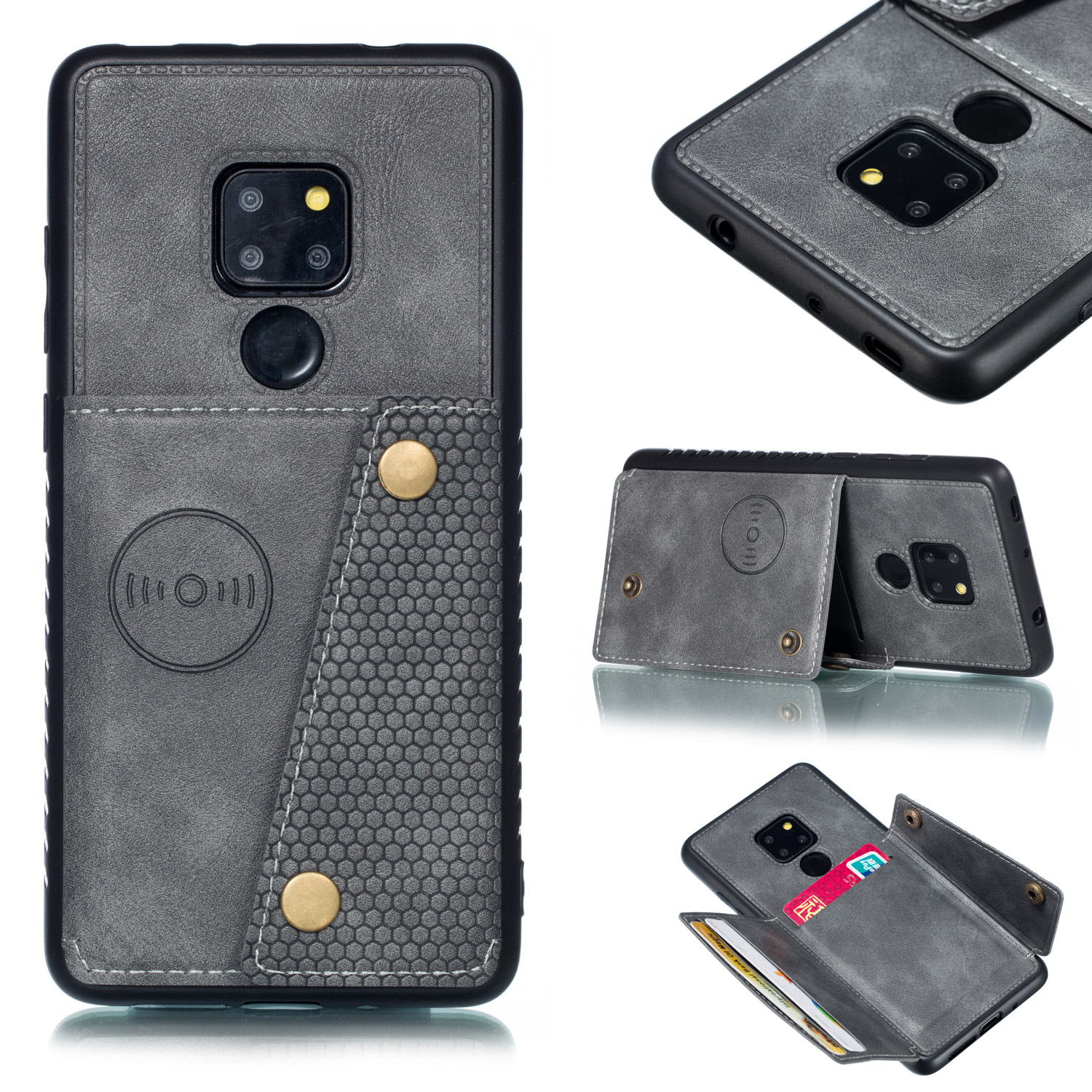 For HUAWEI MATE 20 Double Buckle Non-slip Shockproof Cell Phone Case with Card Slot Bracket gray