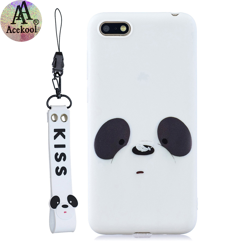 Acekool for HUAWEI Y5 2018 Cartoon Lovely Coloured Painted Soft TPU Back Cover Non-slip Shockproof Full Protective Case with Lanyard white