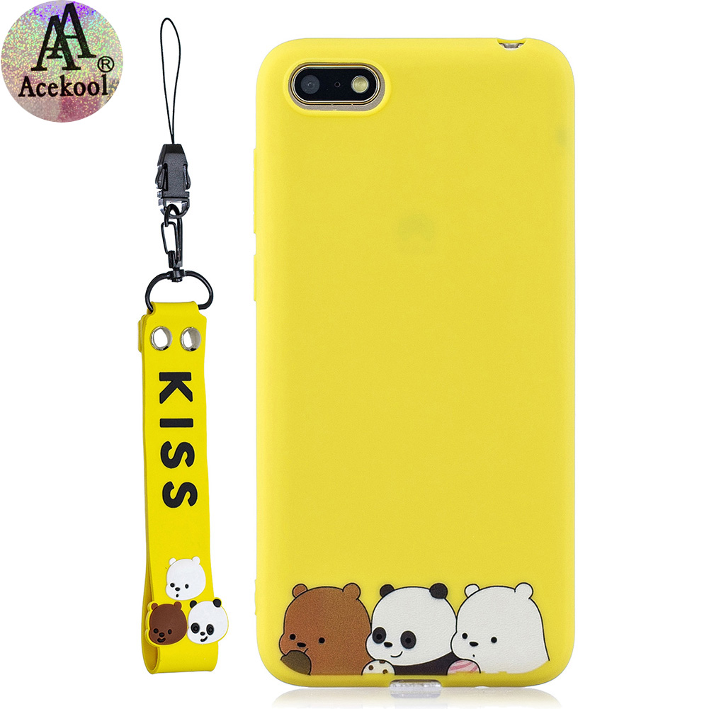 Acekool for HUAWEI Y5 2018 Cartoon Lovely Coloured Painted Soft TPU Back Cover Non-slip Shockproof Full Protective Case with Lanyard yellow
