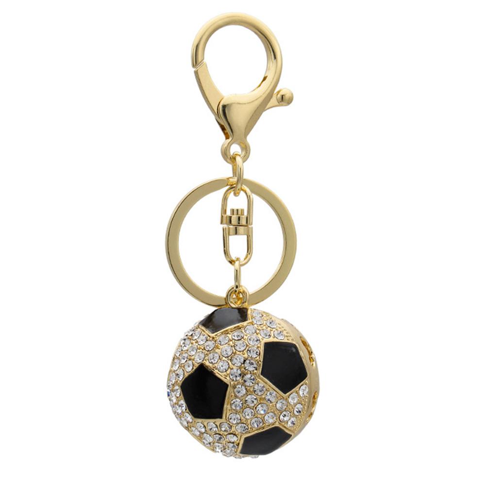 Fashion Creative Sports Keychain Hanging Accessary Football Shape with Rhinestone Key Ring