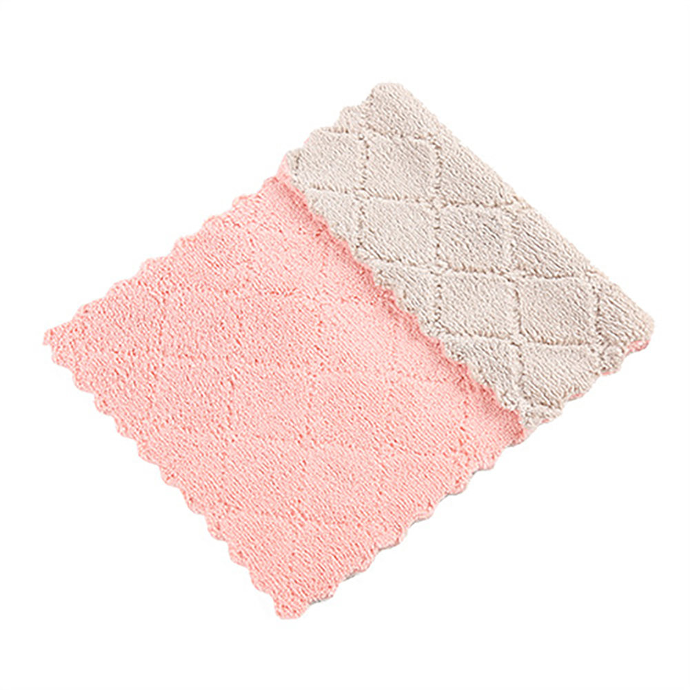 No Shedding Thicken Water Absorption Double Layer Fiber Cleaning Cloth for Kitchen Dishes Bowls Washing pink coffee