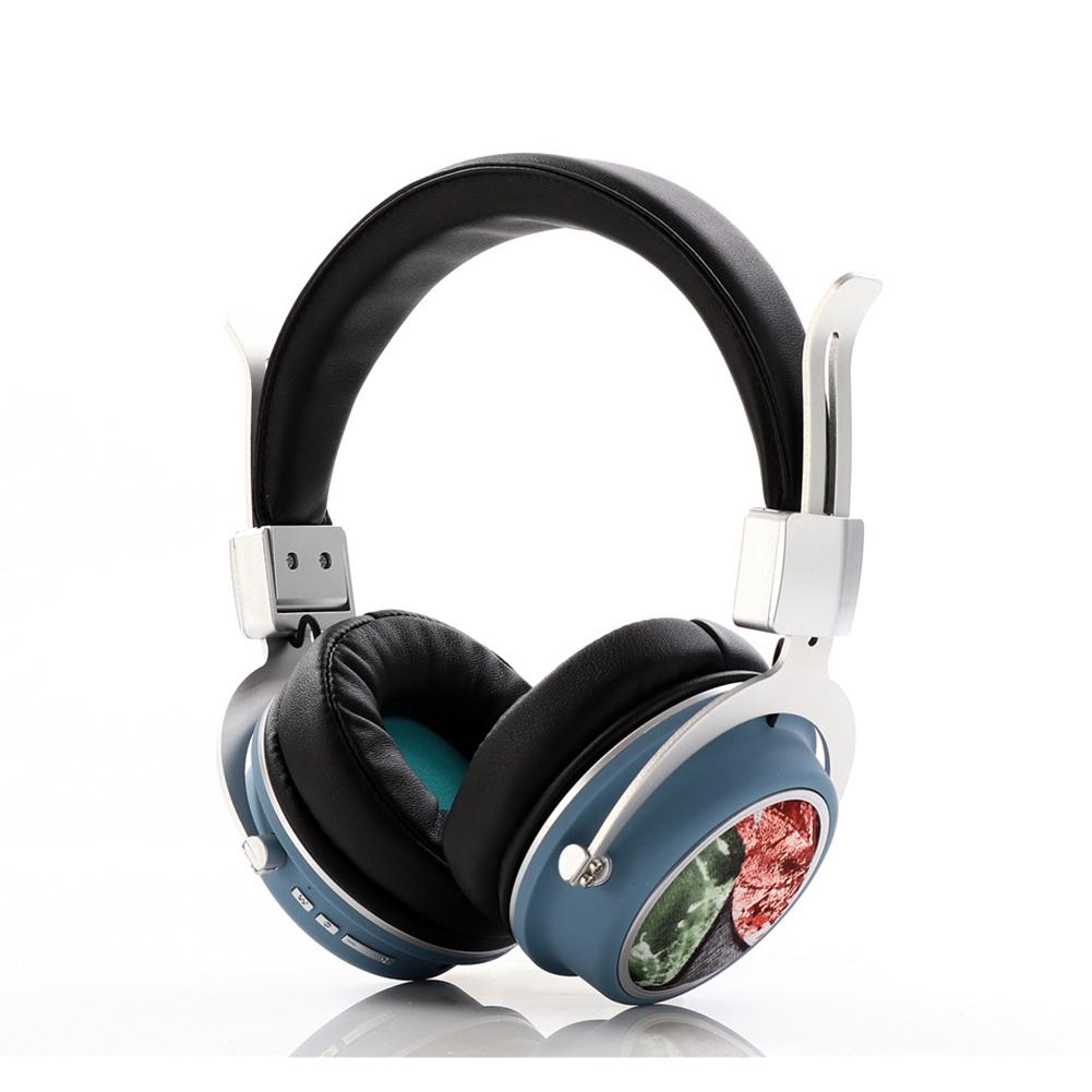 Head Set Wireless BT Bass Headset Phone Insert Card Radio Headset MH5 blue